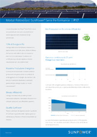 Scheda tecnica del modulo fotovoltaico Sunpower P17 335-355W per impianti commerciali