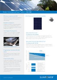 Scheda tecnica del modulo fotovoltaico Sunpower X22 360