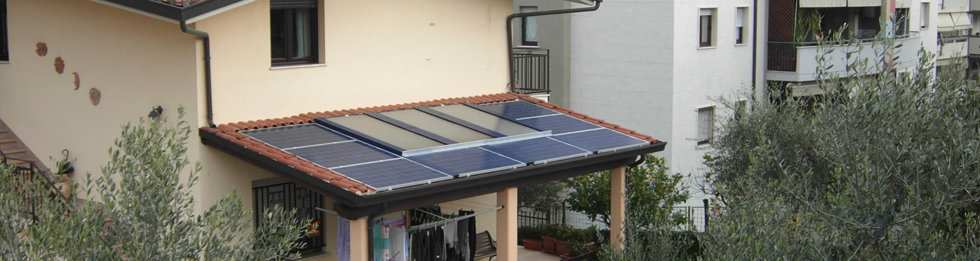 Integrated solar heating and photovoltaics on roof