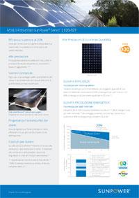 Scheda tecnica del modulo Sunpower E20 327W