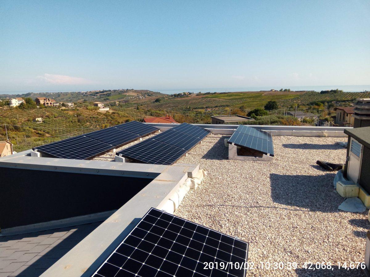 Impianto su tetto piano a Cuppello (7,2 kWp).