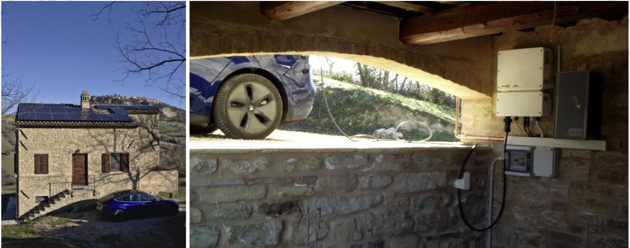 Impianto fotovoltaico di 6,3 kWp con inverter SolarEdge con EV-charger incorporato, per la ricarica del auto Tesla del proprietario.